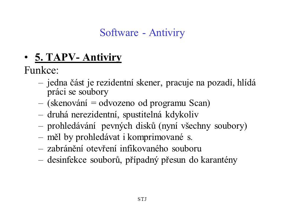Software - Antiviry 5. TAPV- Antiviry Funkce: