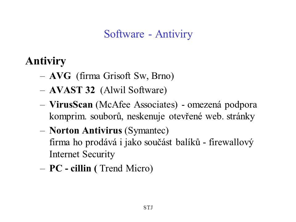 Software - Antiviry Antiviry AVG (firma Grisoft Sw, Brno)