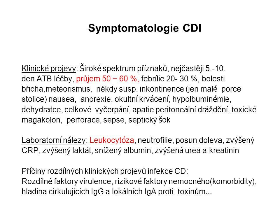 Symptomatologie CDI Klinické projevy: Široké spektrum příznaků, nejčastěji 5.-10. den ATB léčby, průjem 50 – 60 %, febrílie 20- 30 %, bolesti.