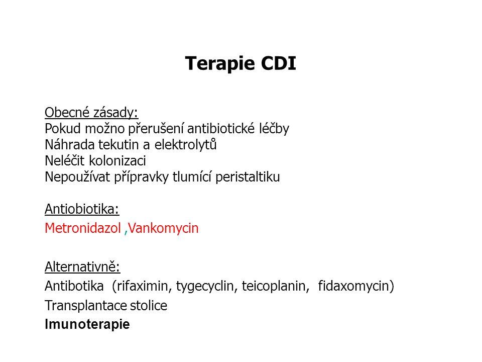 Terapie CDI Obecné zásady: Pokud možno přerušení antibiotické léčby