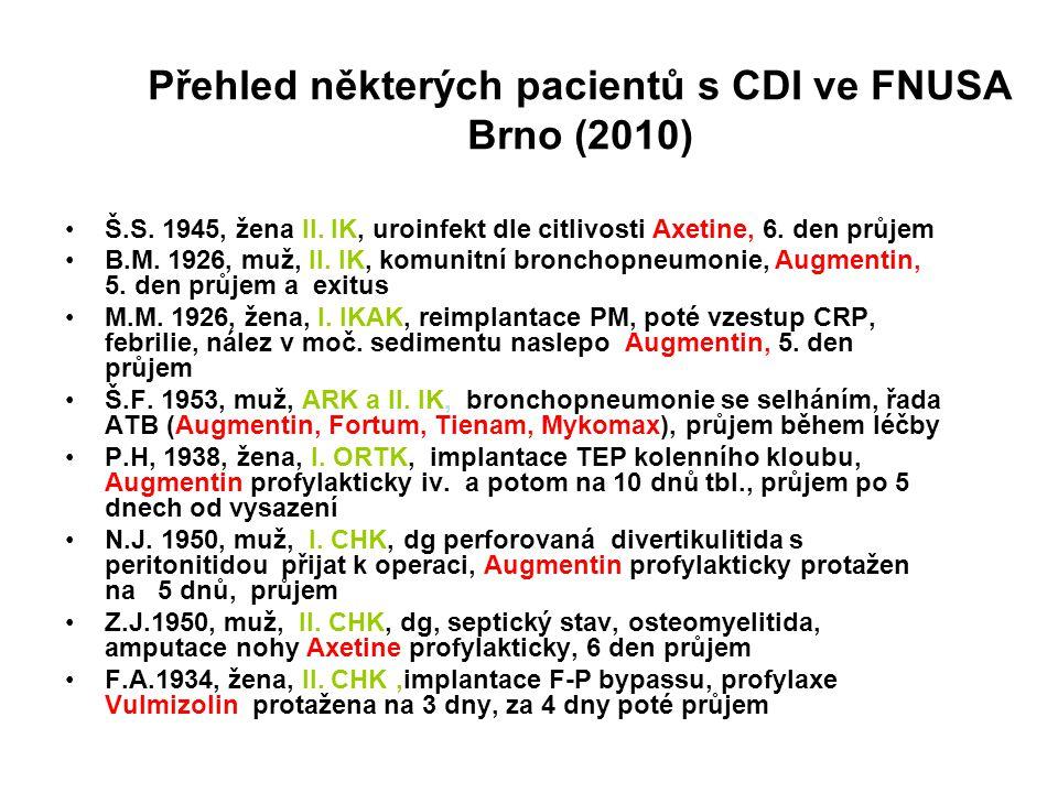 Přehled některých pacientů s CDI ve FNUSA Brno (2010)
