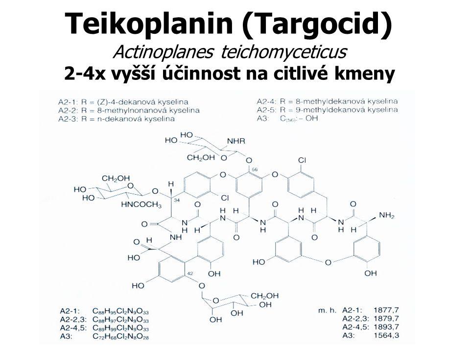 Teikoplanin (Targocid) Actinoplanes teichomyceticus 2-4x vyšší účinnost na citlivé kmeny