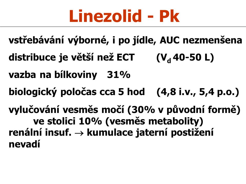 Linezolid - Pk vstřebávání výborné, i po jídle, AUC nezmenšena