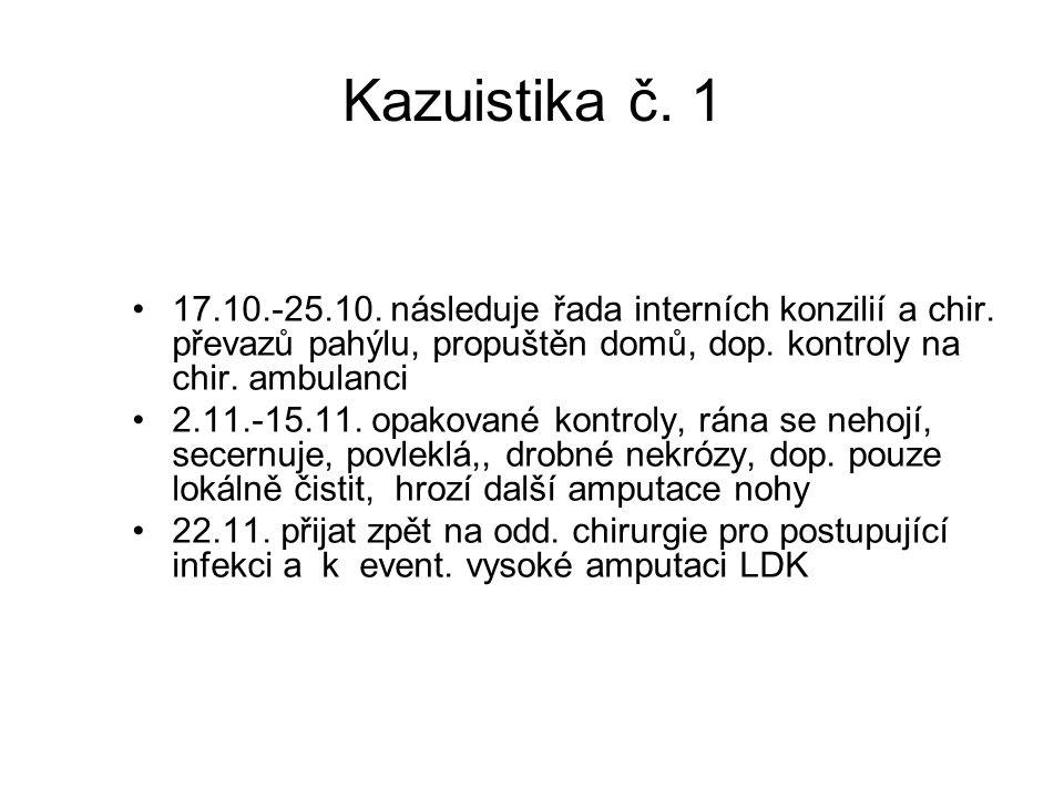 Kazuistika č. 1 17.10.-25.10. následuje řada interních konzilií a chir. převazů pahýlu, propuštěn domů, dop. kontroly na chir. ambulanci.