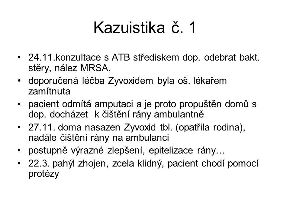 Kazuistika č. 1 24.11.konzultace s ATB střediskem dop. odebrat bakt. stěry, nález MRSA. doporučená léčba Zyvoxidem byla oš. lékařem zamítnuta.