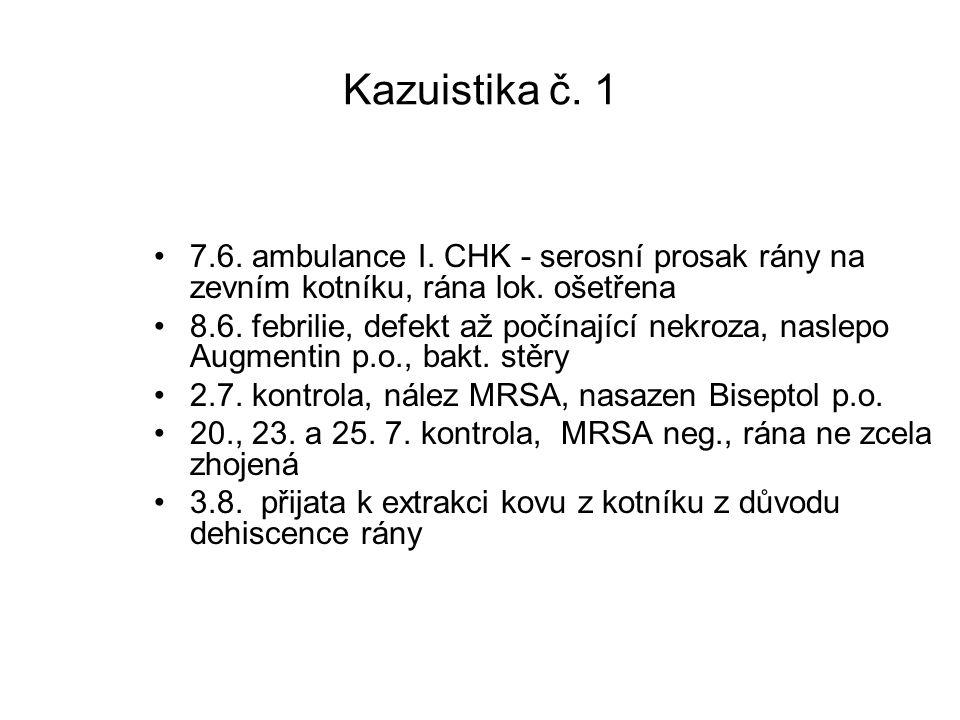 Kazuistika č. 1 7.6. ambulance I. CHK - serosní prosak rány na zevním kotníku, rána lok. ošetřena.