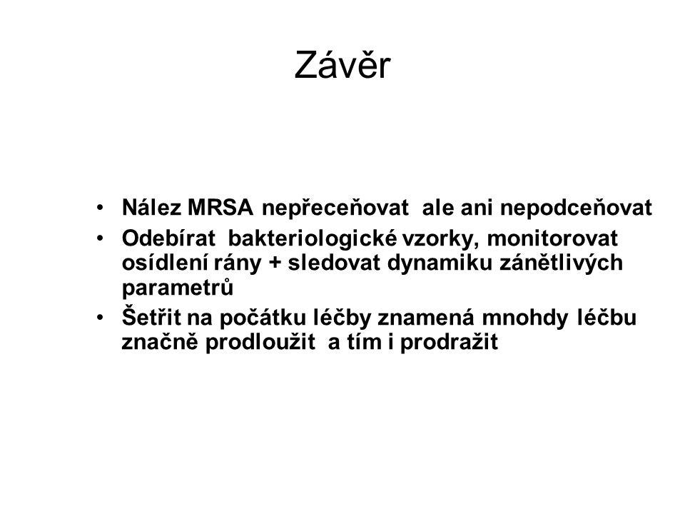 Závěr Nález MRSA nepřeceňovat ale ani nepodceňovat