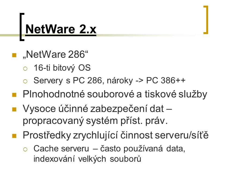 """NetWare 2.x """"NetWare 286 Plnohodnotné souborové a tiskové služby"""