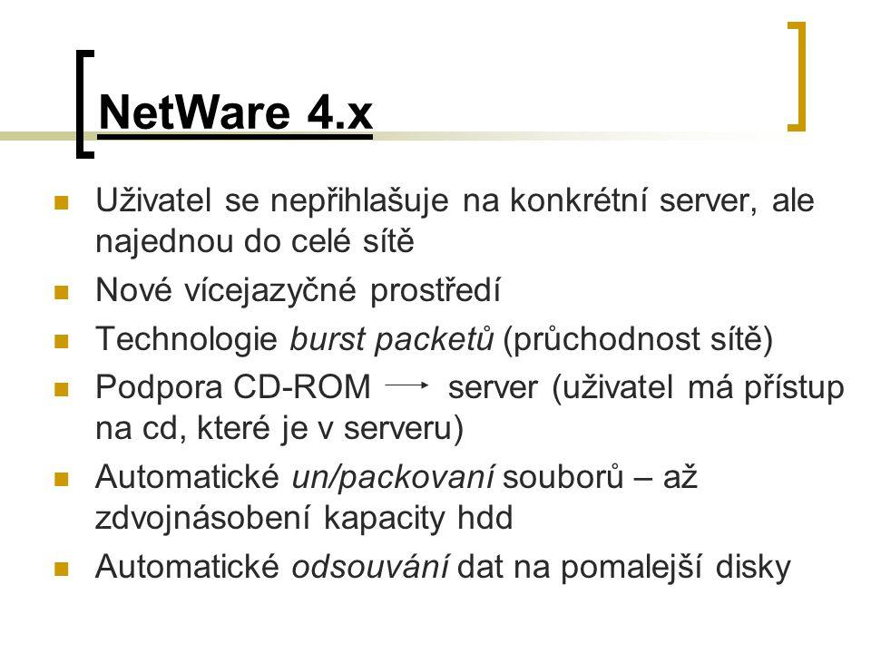 NetWare 4.x Uživatel se nepřihlašuje na konkrétní server, ale najednou do celé sítě. Nové vícejazyčné prostředí.