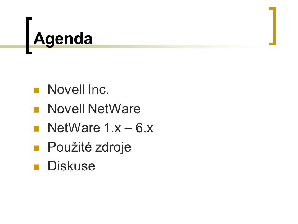 Agenda Novell Inc. Novell NetWare NetWare 1.x – 6.x Použité zdroje