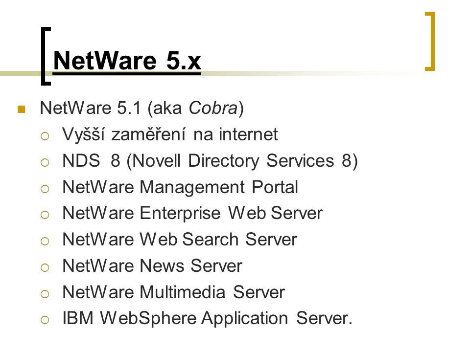 NetWare 5.x NetWare 5.1 (aka Cobra) Vyšší zaměření na internet