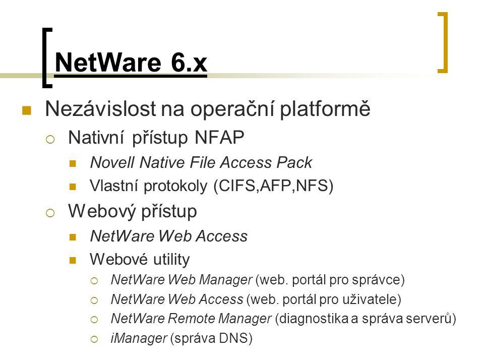 NetWare 6.x Nezávislost na operační platformě Nativní přístup NFAP