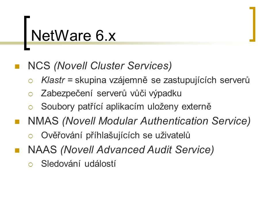 NetWare 6.x NCS (Novell Cluster Services)