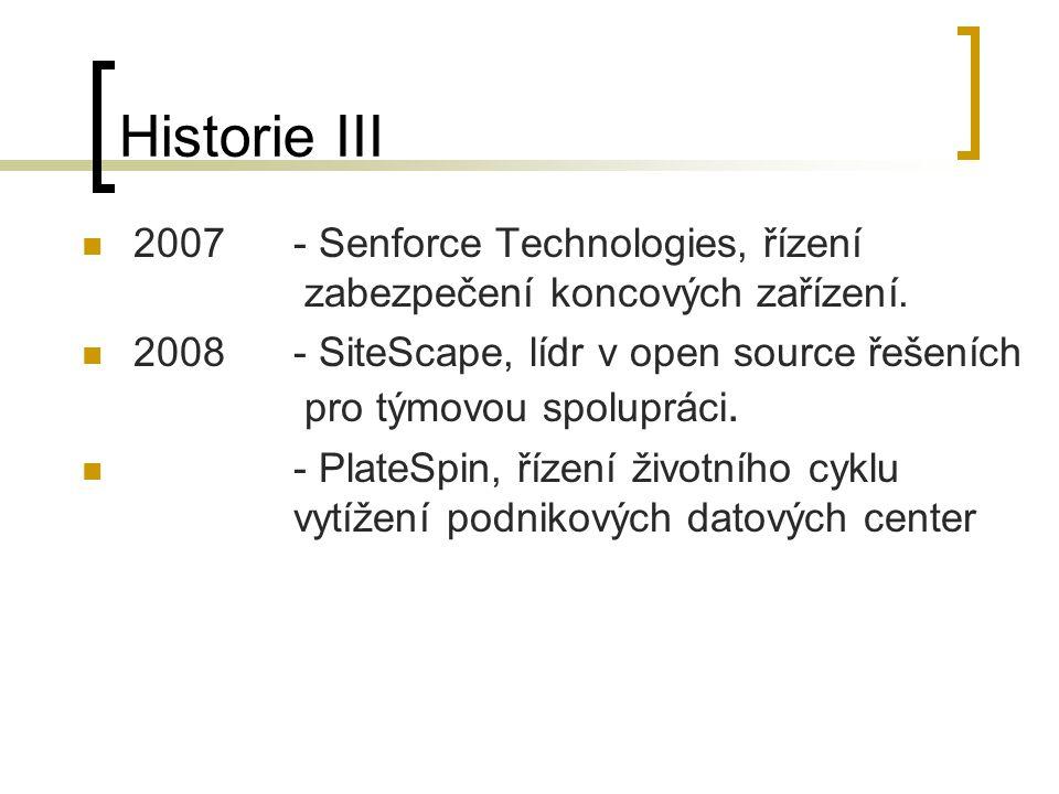 Historie III 2007 - Senforce Technologies, řízení zabezpečení koncových zařízení.