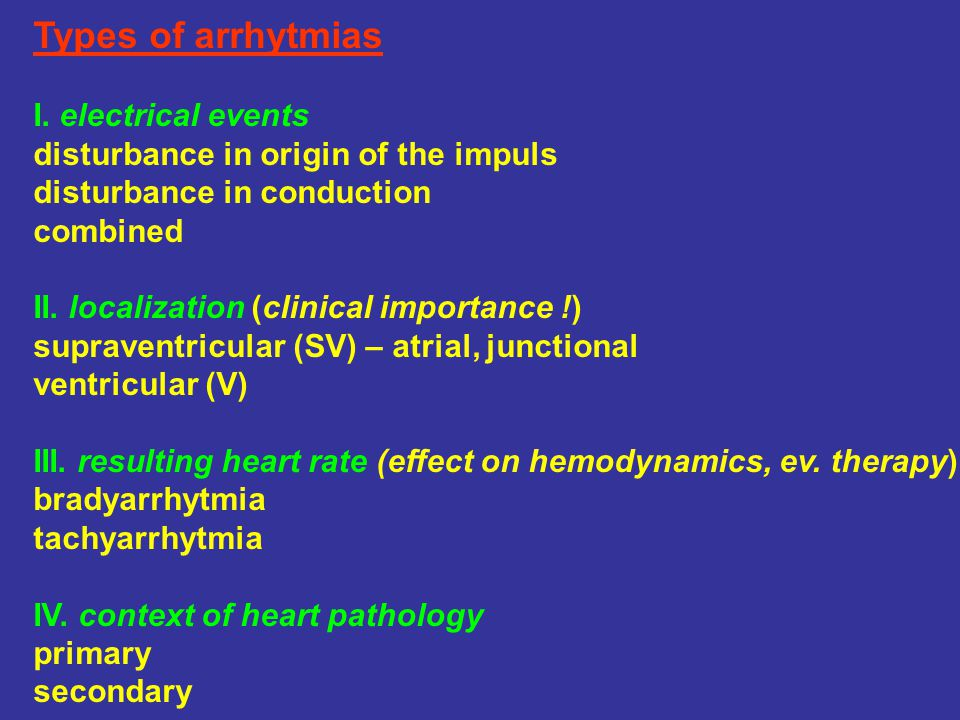 Types of arrhytmias I. electrical events