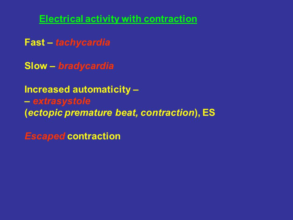 Electrical activity with contraction