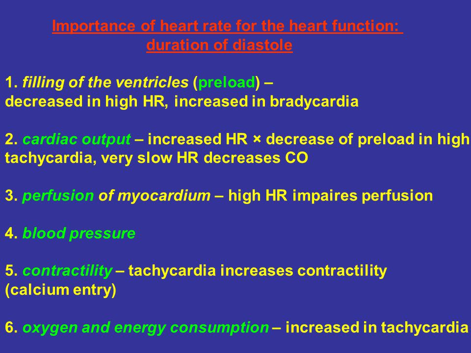 Importance of heart rate for the heart function: duration of diastole