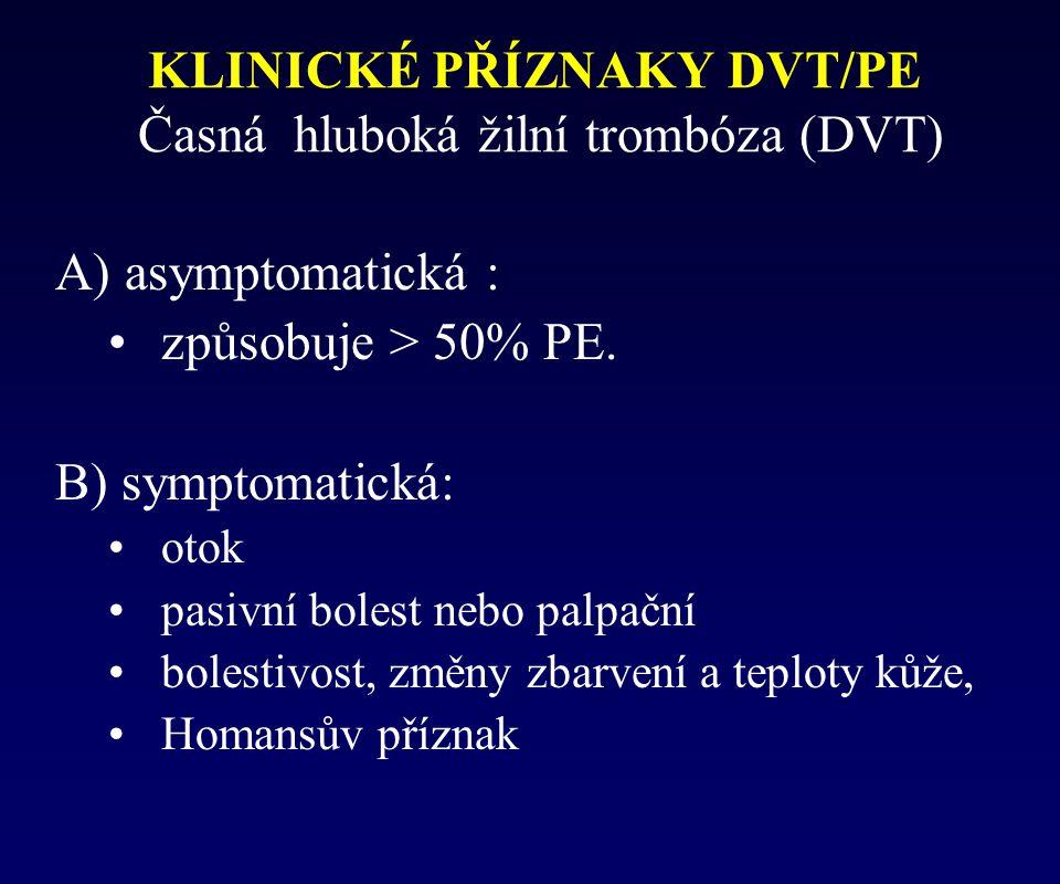 KLINICKÉ PŘÍZNAKY DVT/PE Časná hluboká žilní trombóza (DVT)