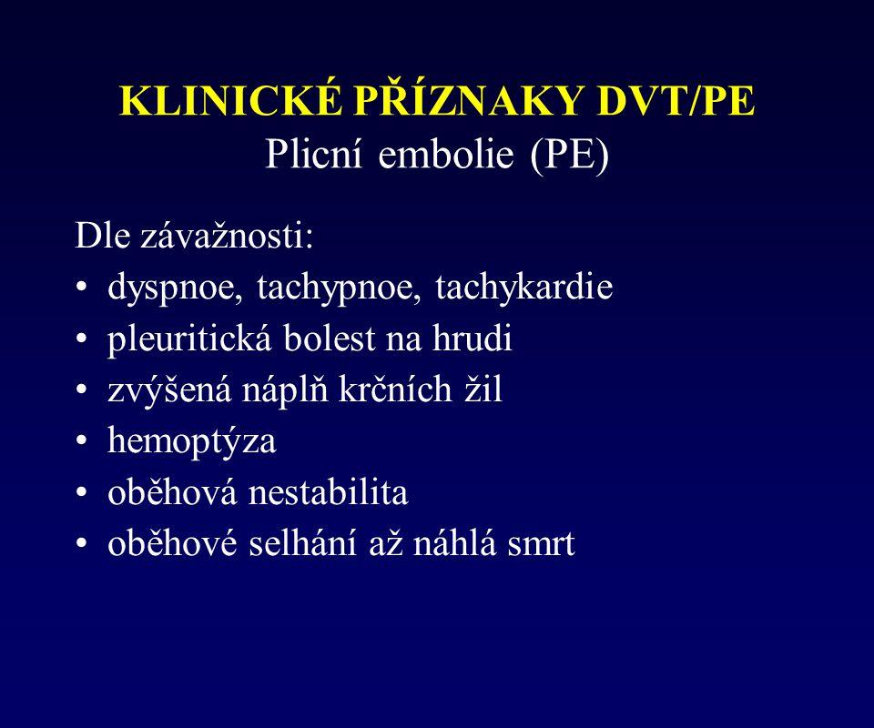 KLINICKÉ PŘÍZNAKY DVT/PE Plicní embolie (PE)