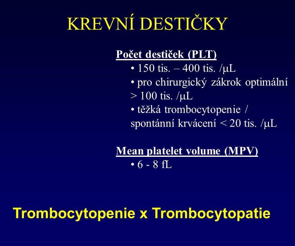 KREVNÍ DESTIČKY Trombocytopenie x Trombocytopatie Počet destiček (PLT)