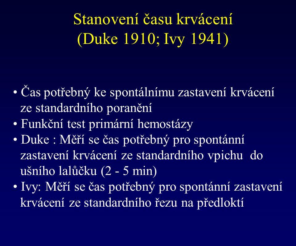 Stanovení času krvácení (Duke 1910; Ivy 1941)