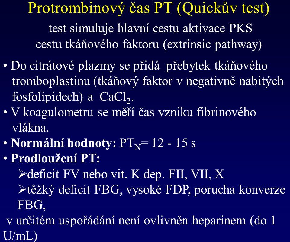 Protrombinový čas PT (Quickův test) test simuluje hlavní cestu aktivace PKS cestu tkáňového faktoru (extrinsic pathway)