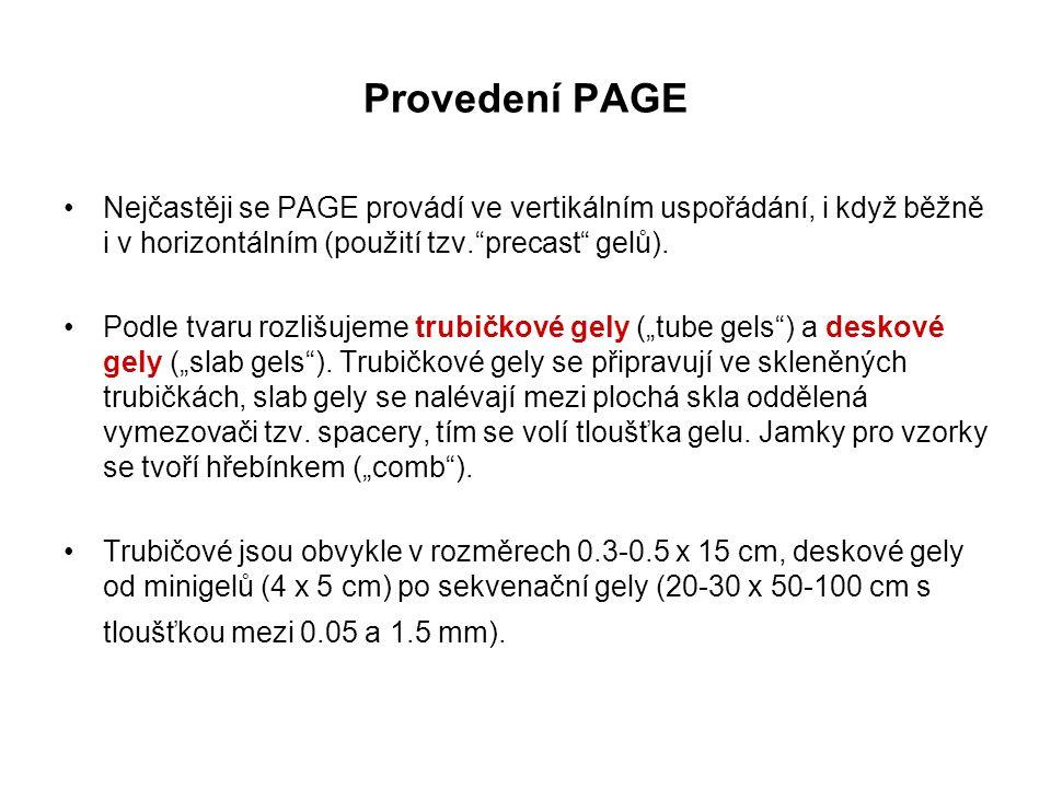 Provedení PAGE Nejčastěji se PAGE provádí ve vertikálním uspořádání, i když běžně i v horizontálním (použití tzv. precast gelů).