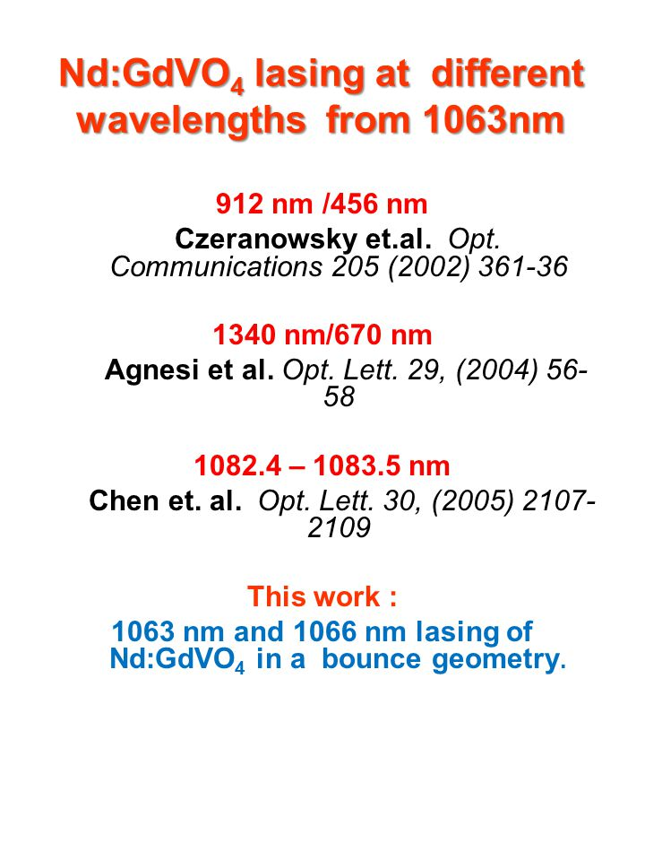 Nd:GdVO4 lasing at different wavelengths from 1063nm