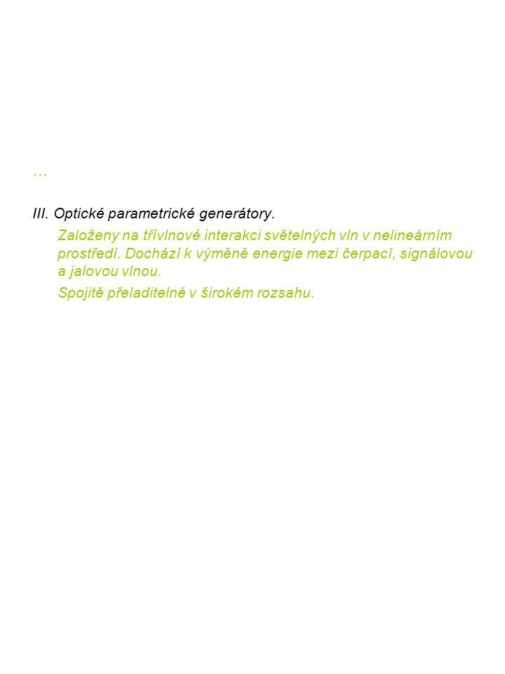 … III. Optické parametrické generátory.