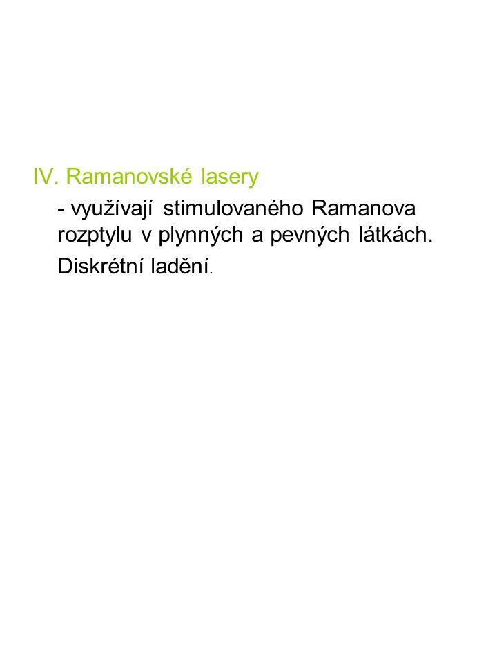 IV. Ramanovské lasery - využívají stimulovaného Ramanova rozptylu v plynných a pevných látkách.