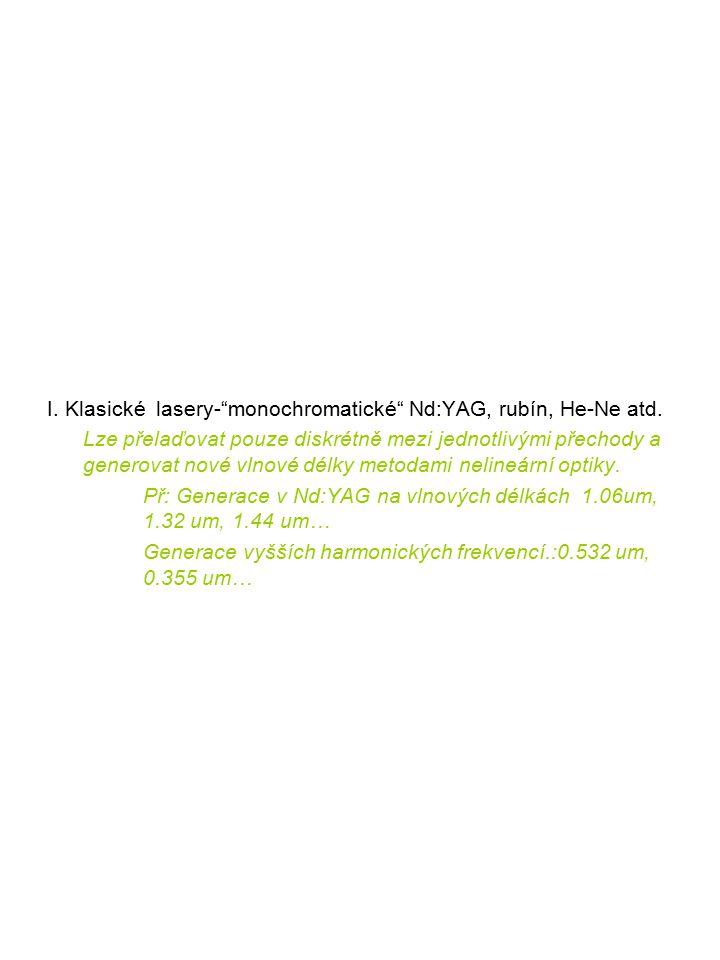 I. Klasické lasery- monochromatické Nd:YAG, rubín, He-Ne atd.