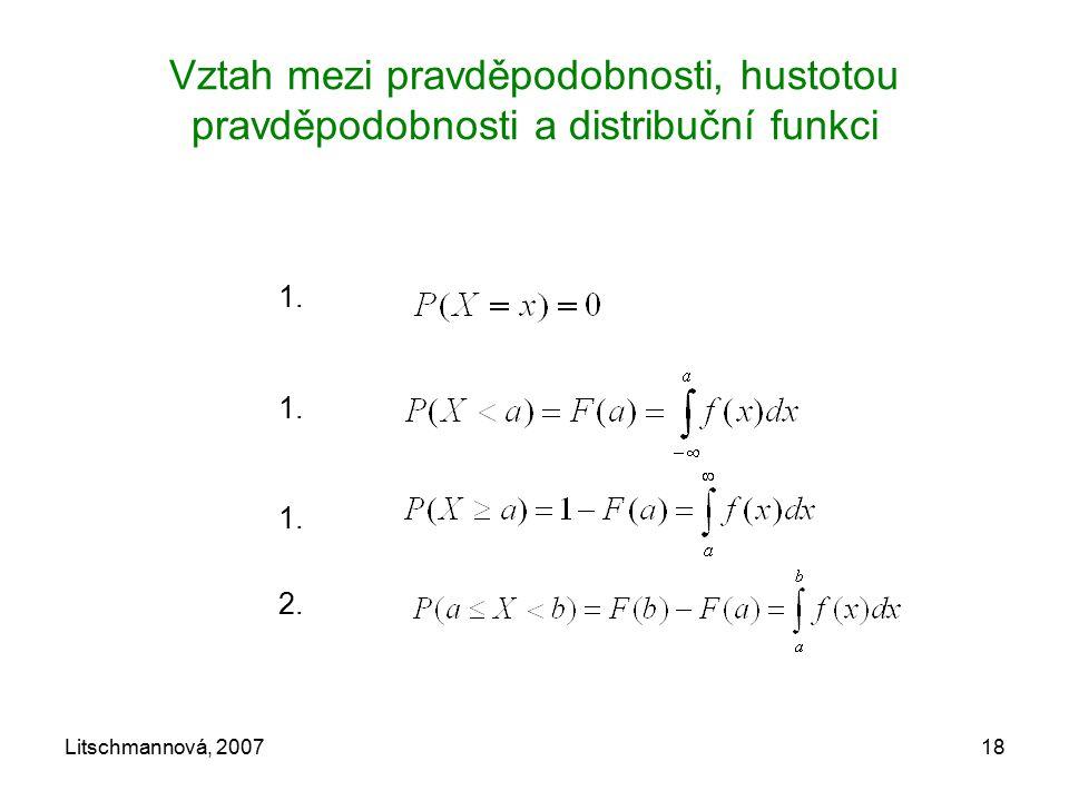 Vztah mezi pravděpodobnosti, hustotou pravděpodobnosti a distribuční funkci