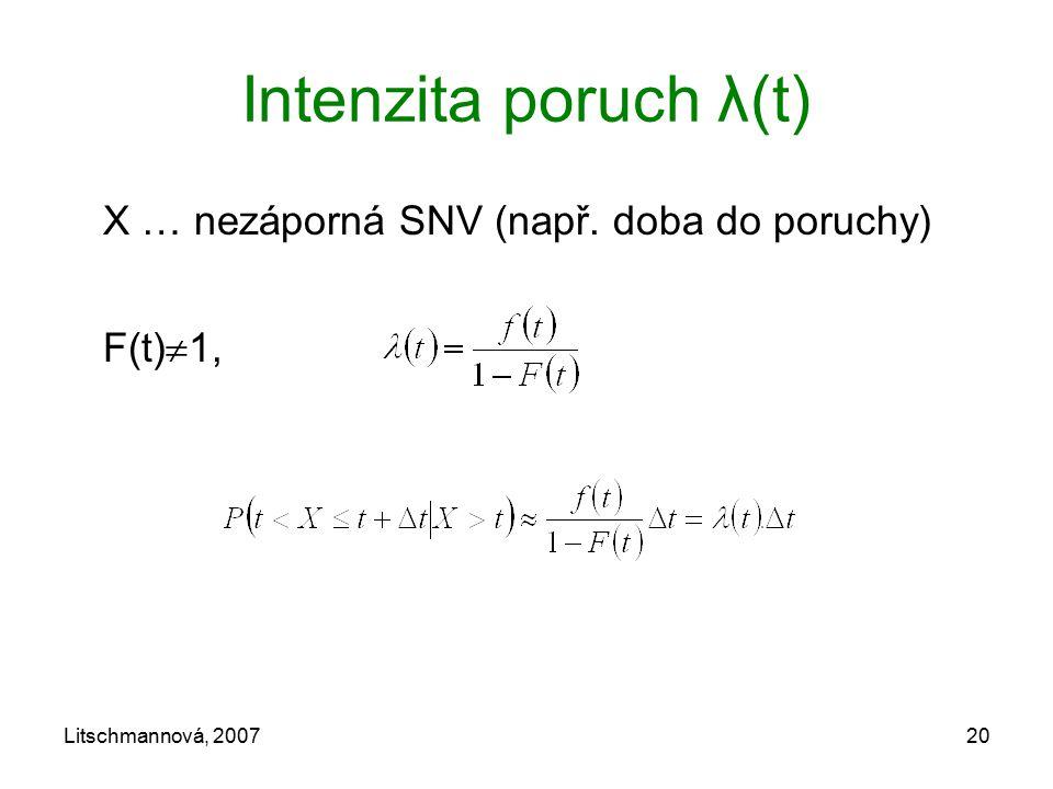 Intenzita poruch λ(t) X … nezáporná SNV (např. doba do poruchy)