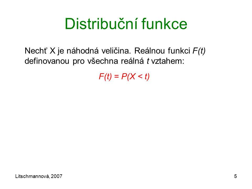 Distribuční funkce F(t) = P(X < t)