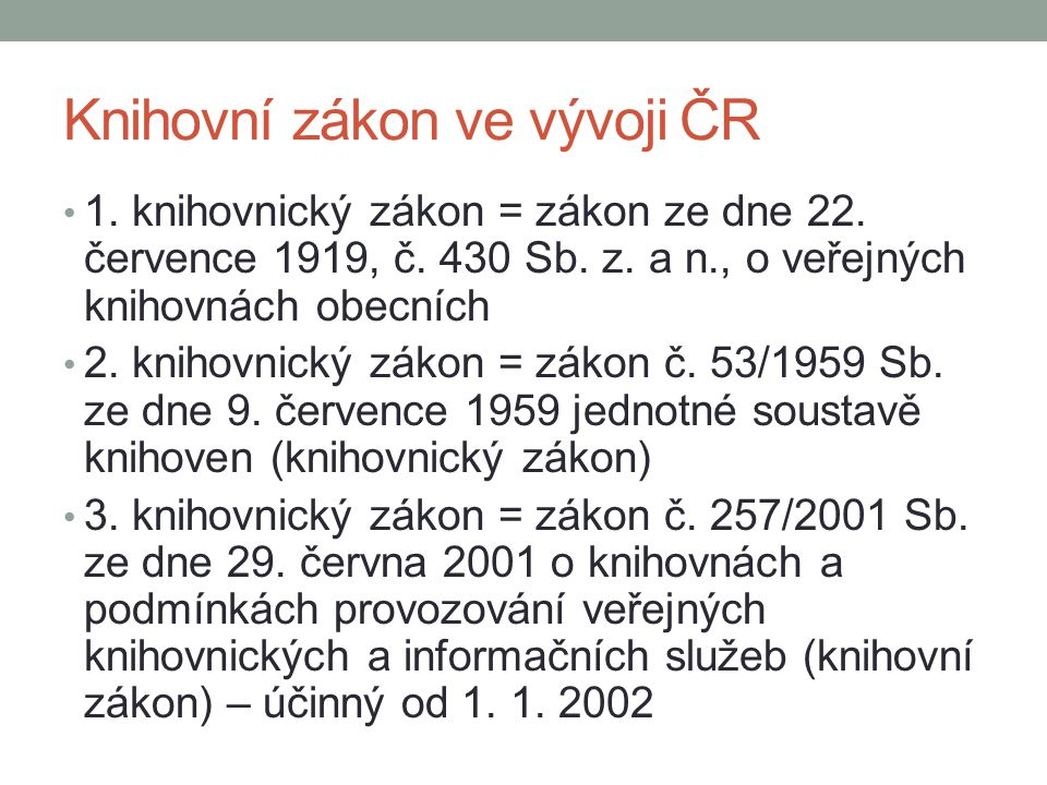 Knihovní zákon ve vývoji ČR