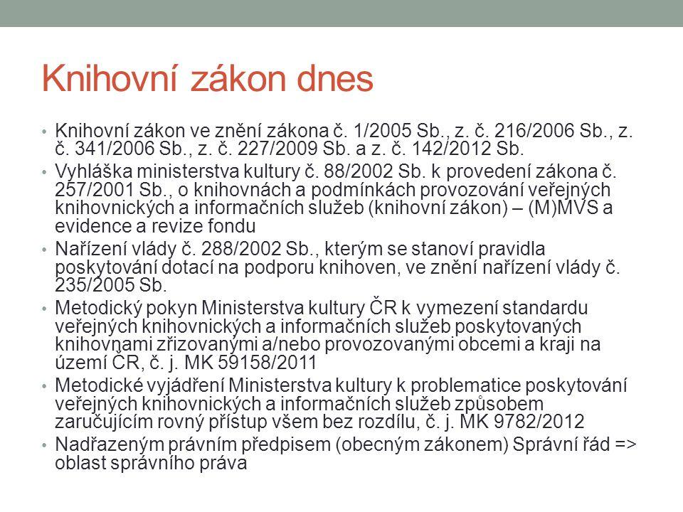 Knihovní zákon dnes Knihovní zákon ve znění zákona č. 1/2005 Sb., z. č. 216/2006 Sb., z. č. 341/2006 Sb., z. č. 227/2009 Sb. a z. č. 142/2012 Sb.