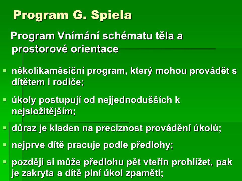 Program G. Spiela Program Vnímání schématu těla a prostorové orientace