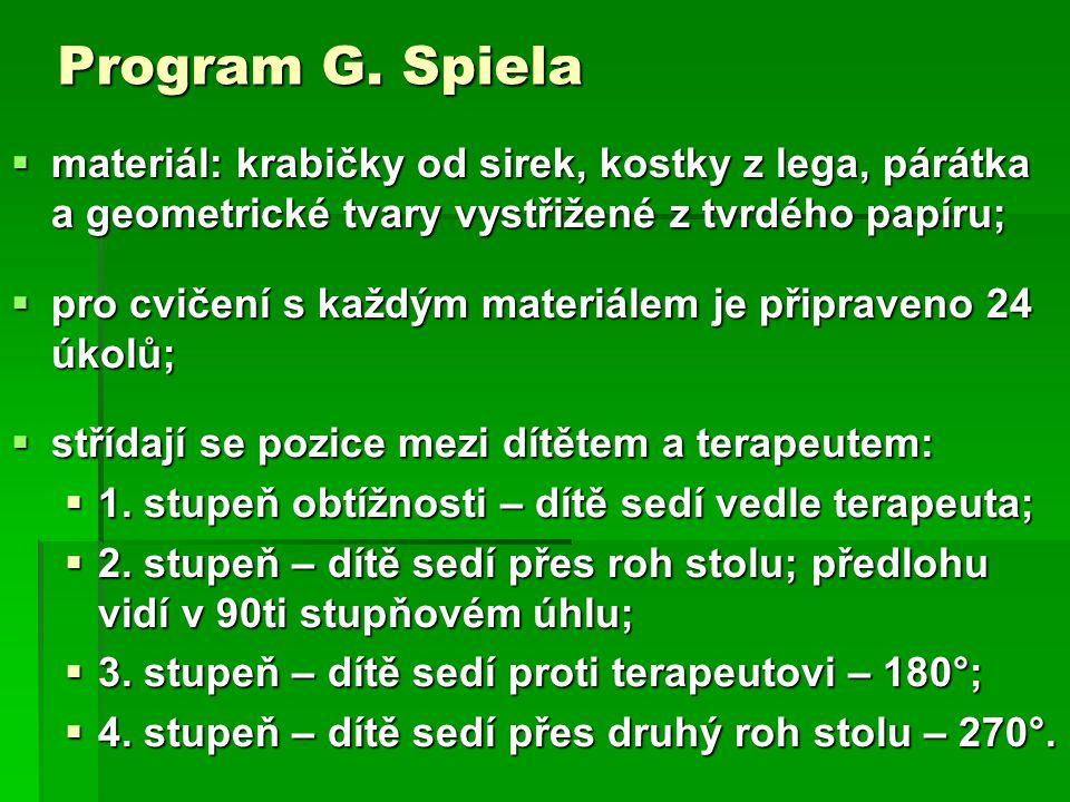 Program G. Spiela materiál: krabičky od sirek, kostky z lega, párátka a geometrické tvary vystřižené z tvrdého papíru;