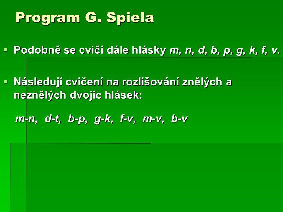 Program G. Spiela Podobně se cvičí dále hlásky m, n, d, b, p, g, k, f, v. Následují cvičení na rozlišování znělých a neznělých dvojic hlásek: