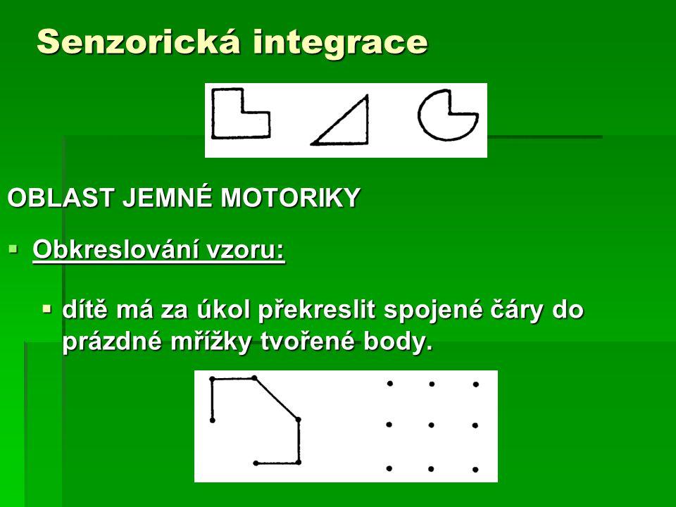 Senzorická integrace OBLAST JEMNÉ MOTORIKY Obkreslování vzoru:
