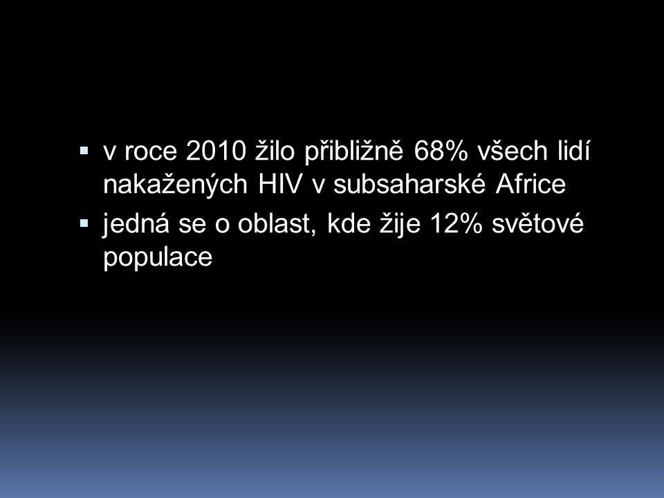 v roce 2010 žilo přibližně 68% všech lidí nakažených HIV v subsaharské Africe