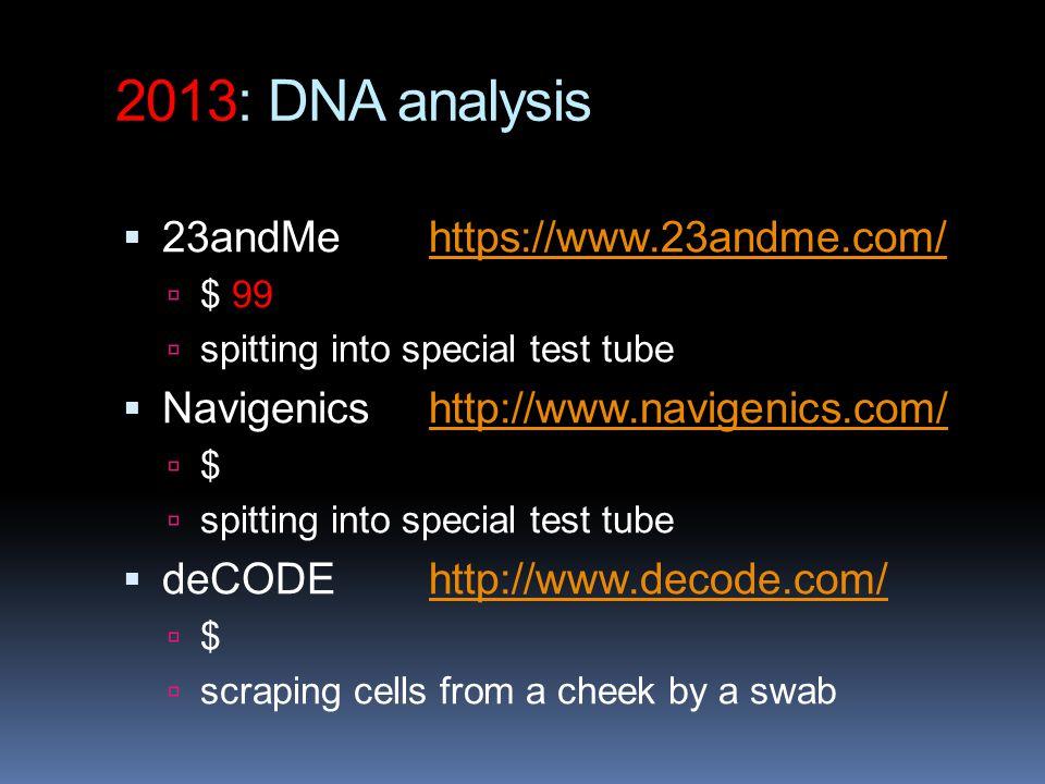 2013: DNA analysis 23andMe https://www.23andme.com/