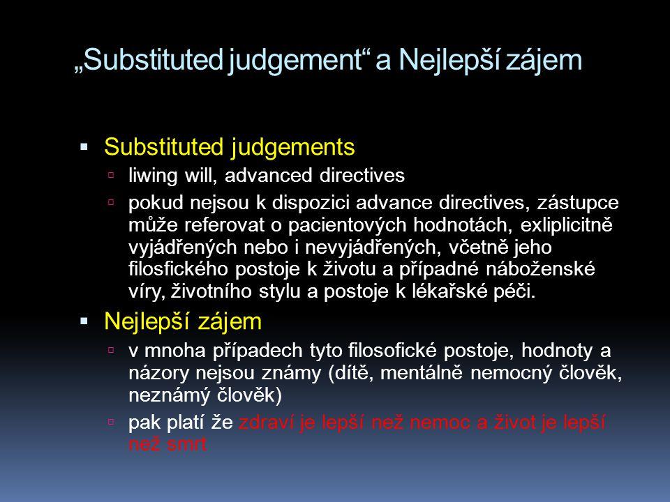 """""""Substituted judgement a Nejlepší zájem"""