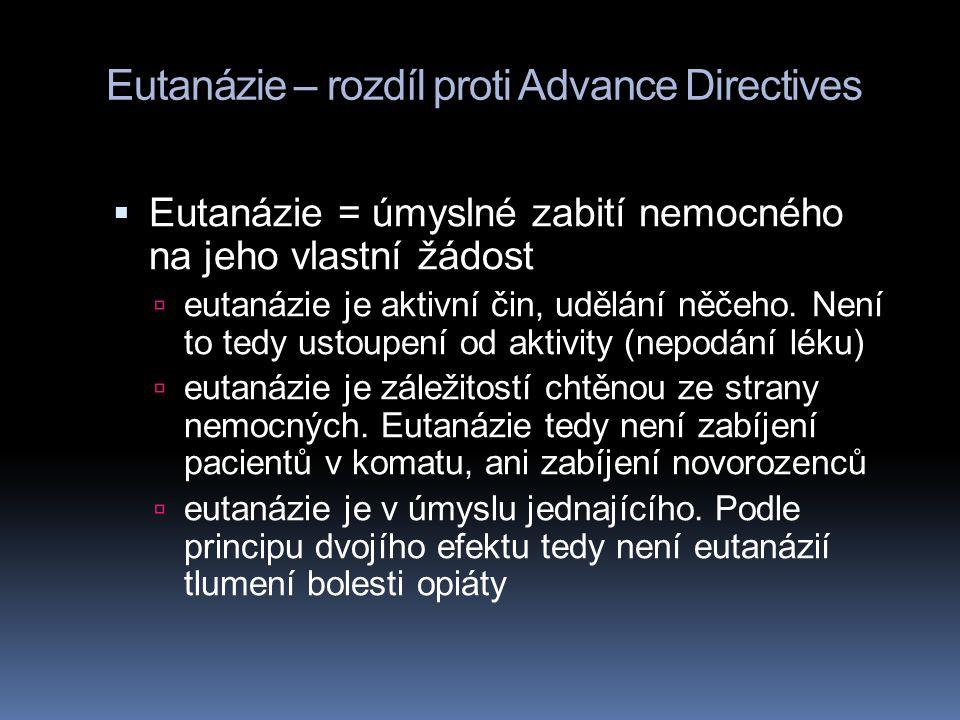 Eutanázie – rozdíl proti Advance Directives
