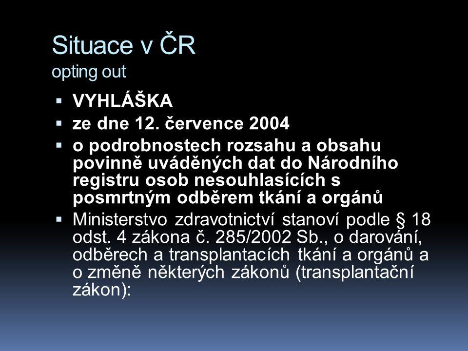 Situace v ČR opting out VYHLÁŠKA ze dne 12. července 2004