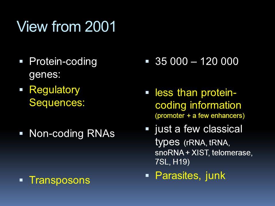 View from 2001 Protein-coding genes: Regulatory Sequences: