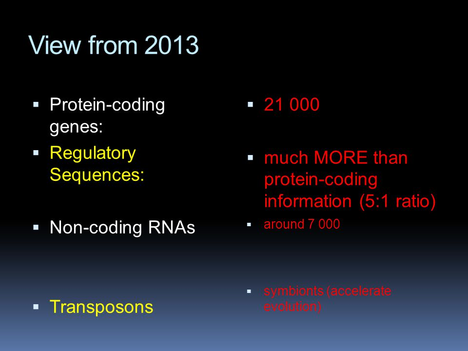 View from 2013 Protein-coding genes: Regulatory Sequences: