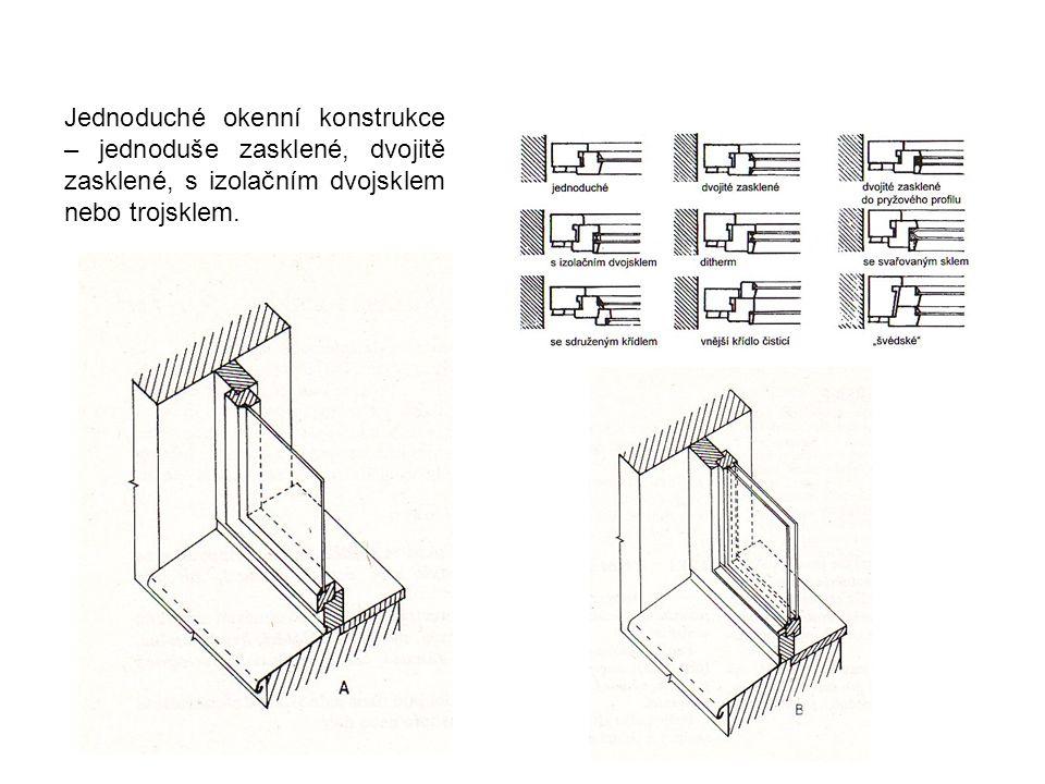 Jednoduché okenní konstrukce – jednoduše zasklené, dvojitě zasklené, s izolačním dvojsklem nebo trojsklem.