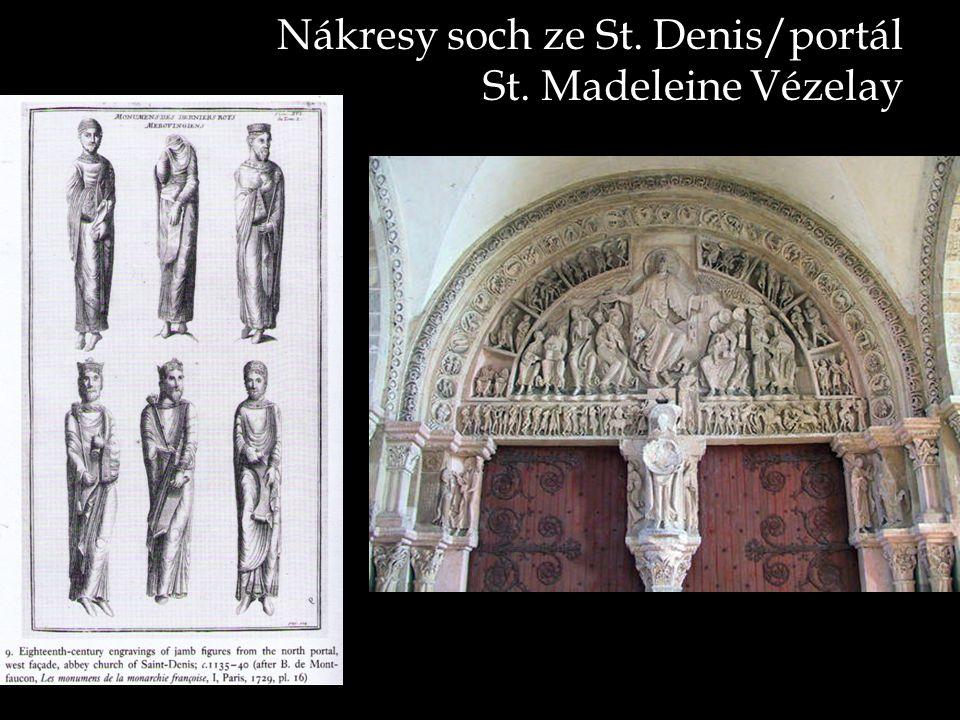 Nákresy soch ze St. Denis/portál St. Madeleine Vézelay