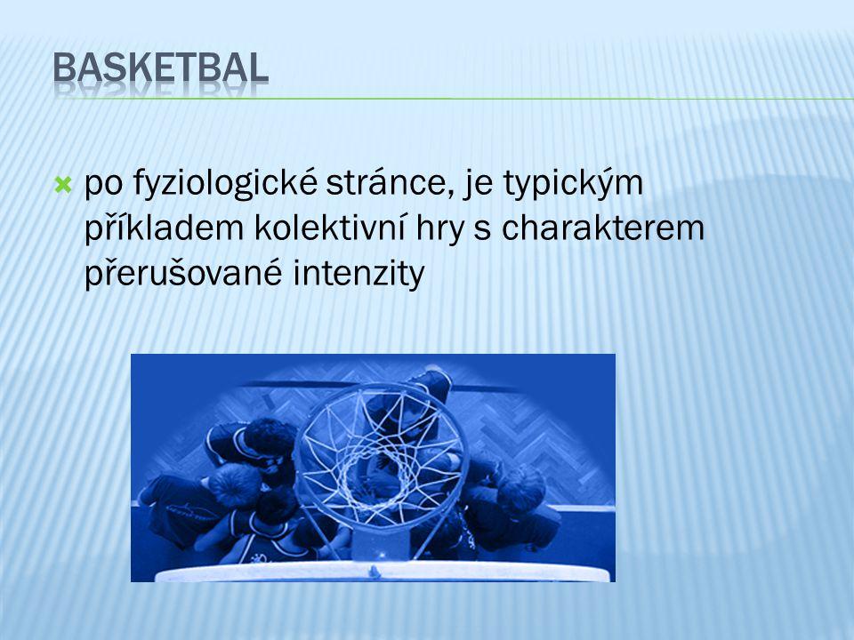Basketbal po fyziologické stránce, je typickým příkladem kolektivní hry s charakterem přerušované intenzity.